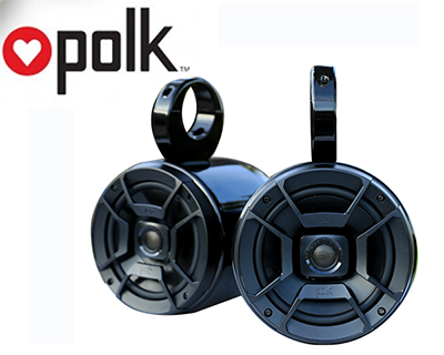 Pair of Single Black Coated Bullet Speaker Pod Polk DB652 300Watt Marine Speaker Installed