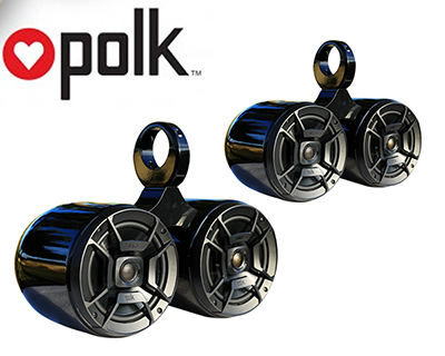 Pair of Twin Black Coated Bullet Speaker Pod Polk DB652 300Watt Marine Speaker Installed