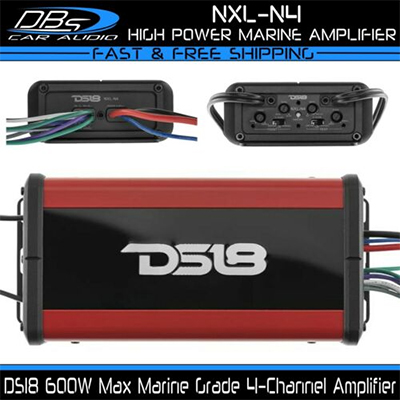DS18 NXL-N4 Marine 4 Channel Speaker Amplifier Powersport Boat Motorcycle Amp