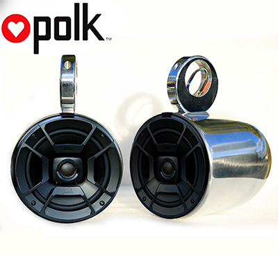 Pair of Single Polished Bullet Speaker Pod Polk DB652 300Watt Marine Speaker Installed