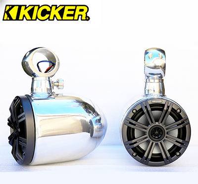 Pair of Quick Rotatable Single Aluminum Polished Pods Kicker KM654CW Marine Speaker Installed