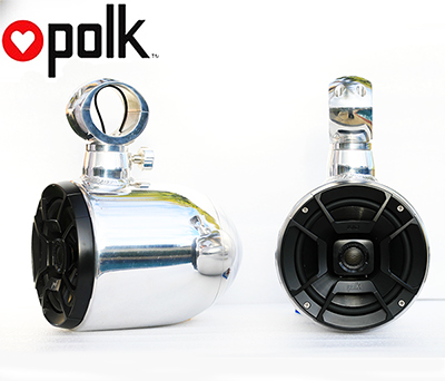 Pair of Quick Rotatable Single Aluminum Polished Pods Polk DB652 300Watt Marine Speaker Installed